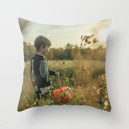Halloween boy in sunset Throw Pillow