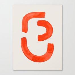 Turn Around Mid Century Modern Minimalist Orange Ink Funky Symbol by Ejaaz Haniff Canvas Print