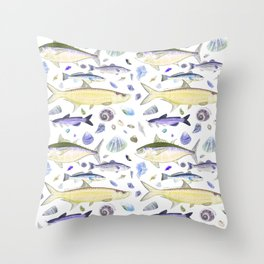 Shell Fish - Yellow Purple Colorway - Casart Sea Life Treasures Collection Throw Pillow