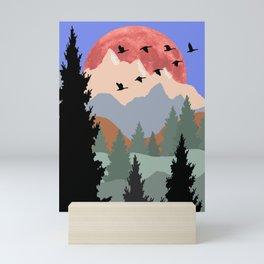 Mountain Geese Scene Mini Art Print
