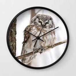 Boreal owl with prey Wall Clock