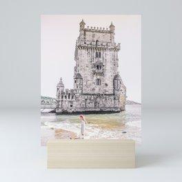 Belem Tower girl Mini Art Print