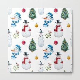 Snowmen Pattern Metal Print