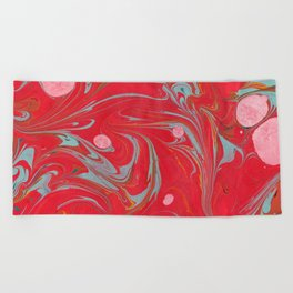 Red Marbled Beach Towel