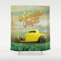 grafitti Shower Curtains featuring American Grafitti by Tony Vazquez