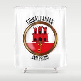 Gibraltar Proud Flag Button Shower Curtain
