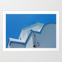 Blue God in Cycladic   Art Print