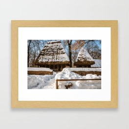Idyllic winter postcard like from the old times Framed Art Print