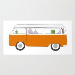 Orange Campervan Art Print