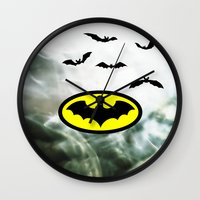 bat man Wall Clocks featuring Bat man  by haroulita
