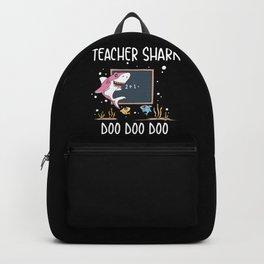 Funny Teacher Shark Doo Doo Doo School Student Classroom Educator Gift Backpack