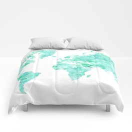 Teal aquamarine watercolor world map Comforters