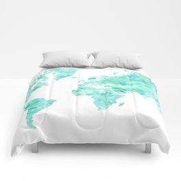 Teal aquamarine watercolor world map Comforters