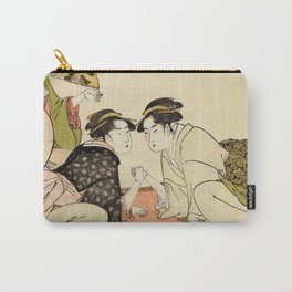 Arm wrestling between two beauties by Kitagawa Utamaro, 1793 Carry-All Pouch