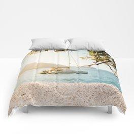 Fitzroy Island Catamaran | Cairns Australia Tropical Beach Sunset Photography Comforters