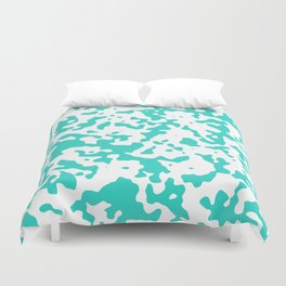 Spots - White and Turquoise Duvet Cover
