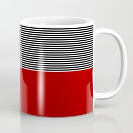 Geometric abstraction, black and white stripes, red square Coffee Mug