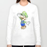 luigi Long Sleeve T-shirts featuring Luigi Watercolor Art by Olechka