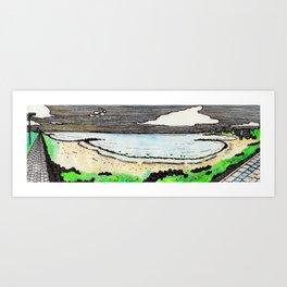 Panorama view of the beach in Heiligenhafen Art Print