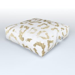 Modern white chic faux gold foil leopard print Outdoor Floor Cushion