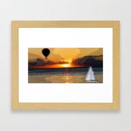 Balloon Sails to Sunset Framed Art Print