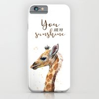 You Are My Sunshine Giraffe Nursery Animals Watercolor Art iPhone 6s Slim Case