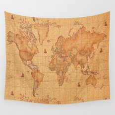 World Map LeaTher Wall Tapestry
