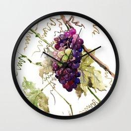 Grapes, California Vineyard Wine Lover design Wall Clock