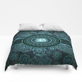 Monogrammed Aridi B Teal Comforters