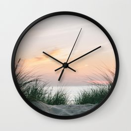 Dune grass at colourful pastel sunset   Painted sky at North Sea, Netherlands   Fine art travel photography Wall Clock