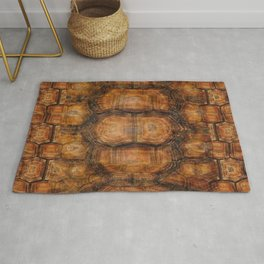 Brown Patterned  Organic Textured Turtle Shell  Design Rug