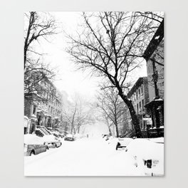New York City At Snow Time Black and White Canvas Print