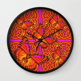 ORANGE MONARCH BUTTERFLIES CELTIC ART VIOLET COLOR Wall Clock