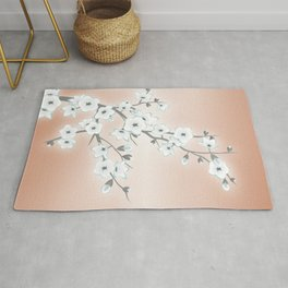 Rose Gold White Cherry Blossom Rug