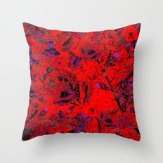 Red and Violet Floral Grunge Throw Pillow
