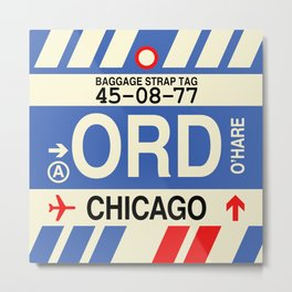 ORD Chicago • Airport Code and Vintage Baggage Tag Design Metal Print