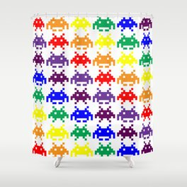 Rainbow Invasion Shower Curtain