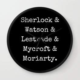 Guys of Sherlock Black Background Wall Clock