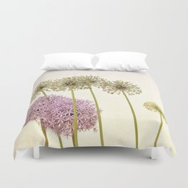 Tall Green Allium Plants and Pink Star Flowers Duvet Cover