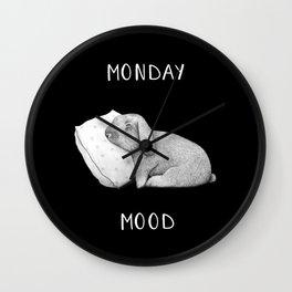 Monday mood on black Wall Clock