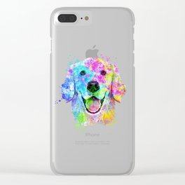 Golden Retriever Watercolor, Watercolor Dog, Golden Retriever Art Clear iPhone Case