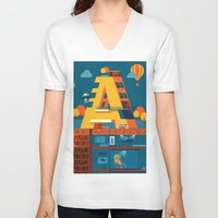 building V-neck T-shirts featuring A Building by Orkha