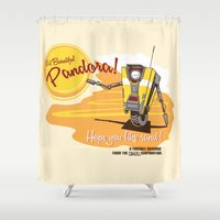 borderlands Shower Curtains featuring Visit Pandora! by Andy Hunt