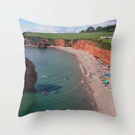 Ladram Bay Jurassic Coast Devon UK Throw Pillow