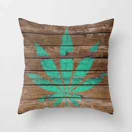Chipped Paint Cannabis Leaf Throw Pillow