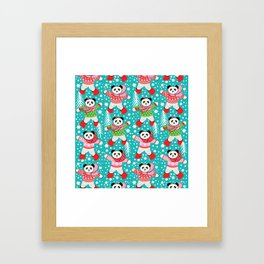 Panda's in Fair Isle Jumpers, Christmas, Thanksgiving, Holidays Framed Art Print