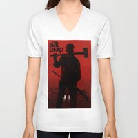 evil dead V-neck T-shirts featuring The Evil Dead by Bill Pyle