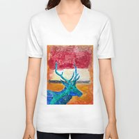 rothko V-neck T-shirts featuring Deer Rothko by winterkl