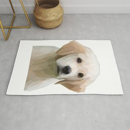 Adorable White Puppy Lowpoly Art Illustration Rug