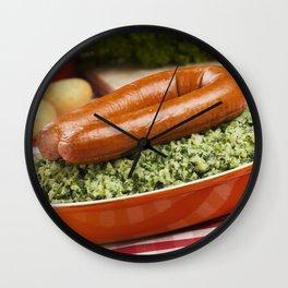 II - Dutch food: kale with smoked sausage or 'Boerenkool met worst' Wall Clock